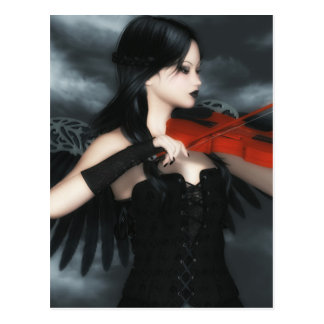 Gothic Angel Playing The Violin Postcard