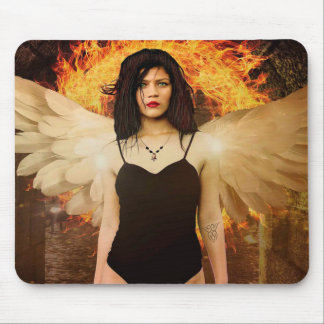 Gothic Angel Woman with Angel Wings and Fire Mouse Mat