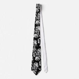 Gothic Antique Rose White on Black Tie