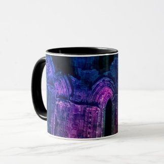 Gothic arches. Black Whitby Abbey old ruins Mug