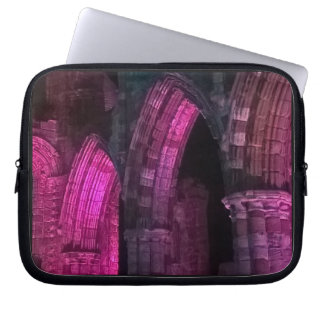 Gothic arches. Whitby abbey magenta Laptop Sleeve