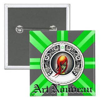 Gothic Art Nouveau Woman 15 Cm Square Badge