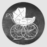 Gothic Baby Carriage Classic Round Sticker
