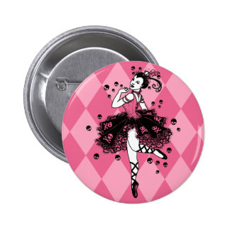 Gothic Ballerina in Pink 6 Cm Round Badge