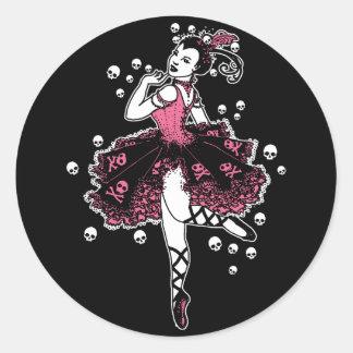 Gothic Ballerina in Pink Round Stickers