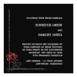 """Gothic Barbed Wire and Rose Elegant Wedding 5.25"""" Square Invitation Card"""