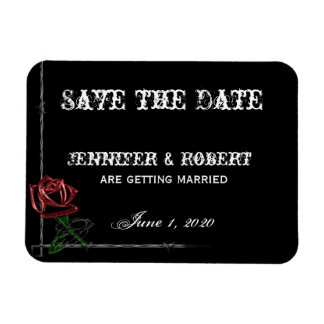 Gothic Barbed Wire and Rose Save the Date Vinyl Magnets