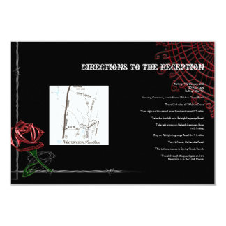Gothic Barbed Wire and Rose Wedding Directions v2 9 Cm X 13 Cm Invitation Card