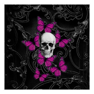Gothic baroque skull posters