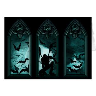 Gothic Bat Windows Greeting Card