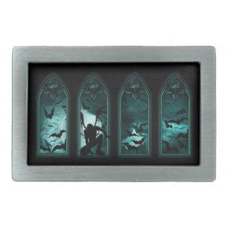Gothic Bat Windows Rect Belt Buckle