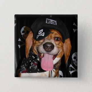 Gothic Beagle Pirate dog Button