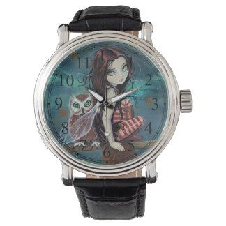 Gothic Big-Eye Fairy and Owl Fantasy Art Watch