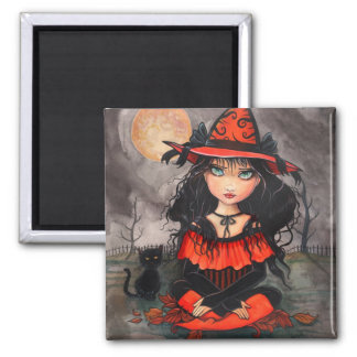 Gothic Big Eye Halloween Witch Cat Art Magnet