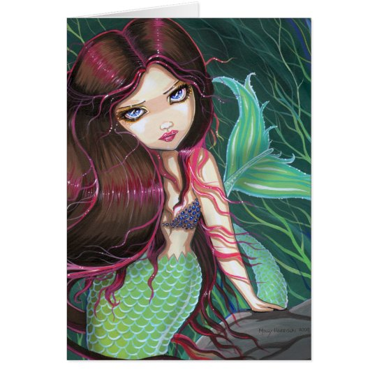 Gothic Big Eye Mermaid Greeting Card Notecard