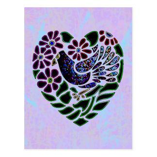 Gothic Bird in Heart Postcard