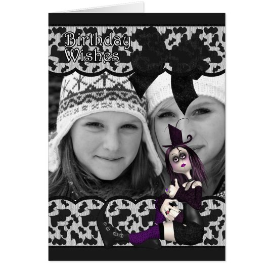 gothic birthday photo card with ribbon and lace