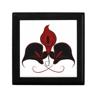 Gothic Black and Burgundy Red Calla Lilies Box