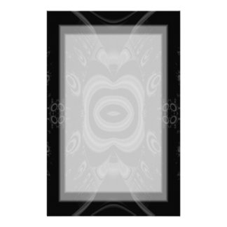 Gothic Black and Gray Floral Pattern Custom Stationery