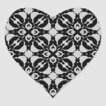 Gothic black and grey kaleidoscope envelope seals heart sticker