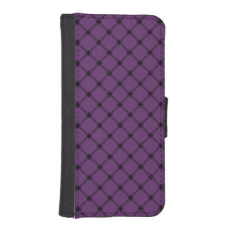 Gothic Black and Purple Diagonal Pattern iPhone SE/5/5s Wallet Case
