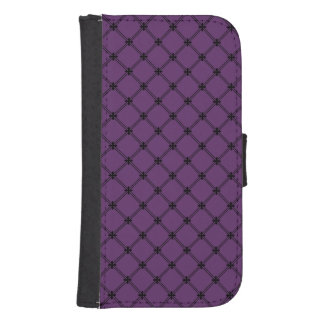 Gothic Black and Purple Diagonal Pattern Samsung S4 Wallet Case