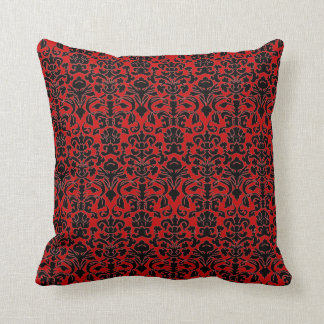 Gothic Black and red damask pillow Throw Cushion