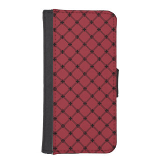 Gothic Black and Red Diagonal Pattern iPhone SE/5/5s Wallet Case