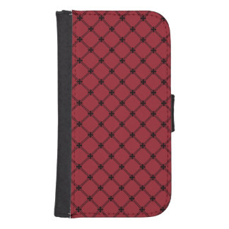 Gothic Black and Red Diagonal Pattern Samsung S4 Wallet Case