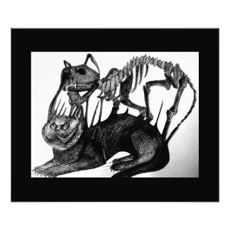 Gothic black and white cat skeleton art photo