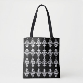 Gothic Black and White Damask Pattern Tote Bag