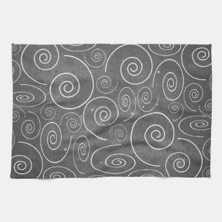 Gothic Black and White Spirals Kitchen Towel