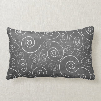 Gothic Black and White Swirls Spirals Pillow