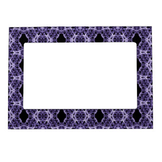 Gothic Black, Purple Lace Fractal Pattern Magnetic Frame