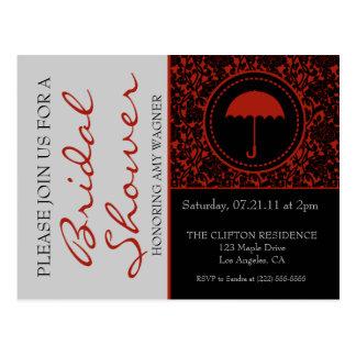 Gothic Black & Red Flourish Bridal Shower Postcard