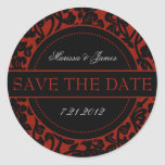 Gothic Black & Red Flourish Envelope Seals Round Stickers