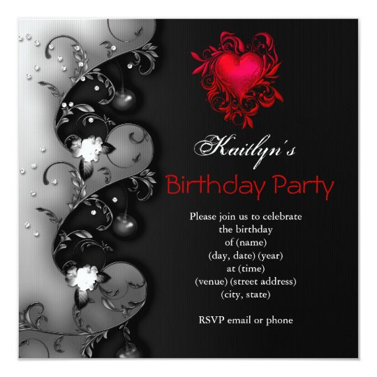 Gothic Black Red Heart Birthday Party Card