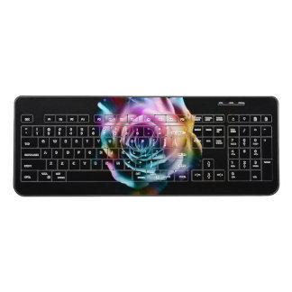Gothic black rose tie dye wireless keyboard