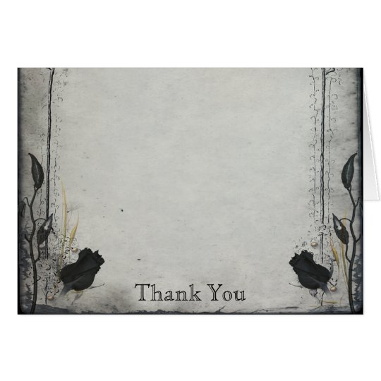 Gothic Black Rose Trellis Anniversary Thank You Card