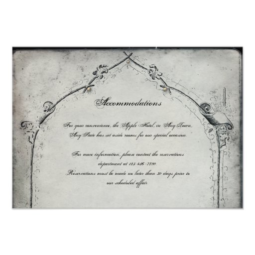 Gothic Black Rose Trellis Wedding Insert Custom Invite