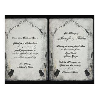 Gothic Black Rose Trellis Wedding Program Flyer