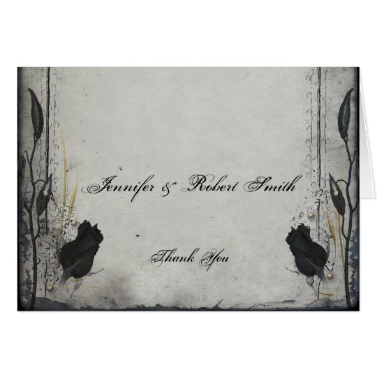 Gothic Black Rose Trellis Wedding Thank You Card
