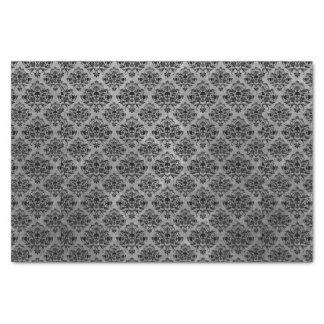 Gothic Black Skull Grunge Damask Pattern Tissue Paper