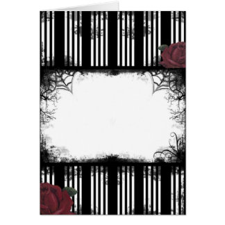 Gothic Black Stripe Roses Card