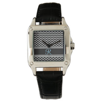 Gothic Black White Zigzag Chevron Monogram Wristwatches