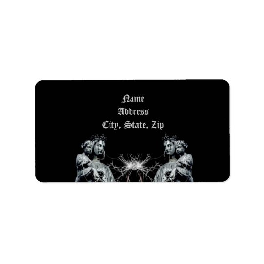Gothic blessed mother and child address label