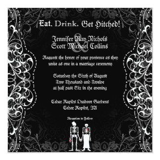 Gothic Bride & Groom Skeleton Wedding Invitations