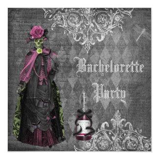 Gothic Bride Skeleton Shabby Chic Bachelorette 13 Cm X 13 Cm Square Invitation Card