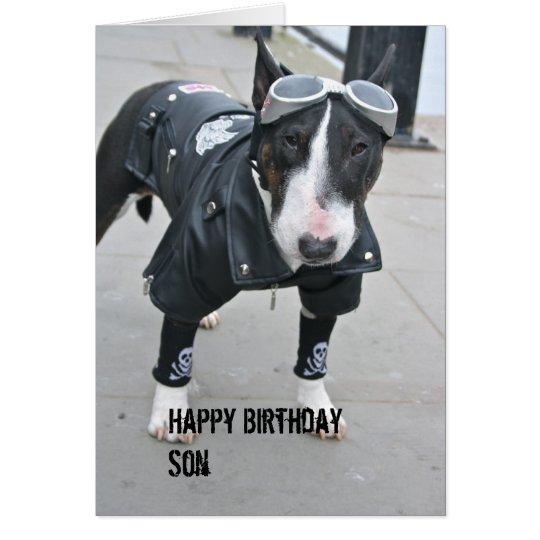 Gothic Bulldog Happy Birthday Son Card