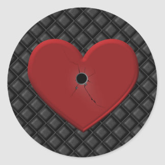Gothic Bullet Hole Heart Classic Round Sticker